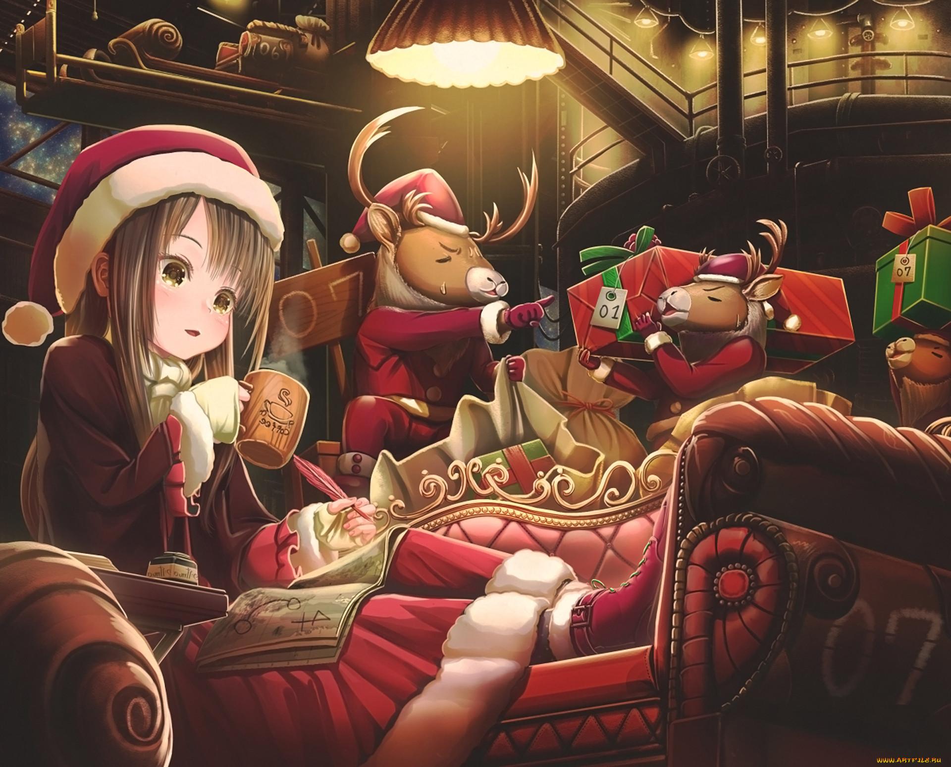 Картинка с рождеством аниме